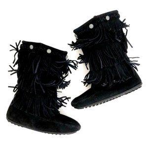 MINNETONKA Girls Fringe Boho Black Suede Boots 3